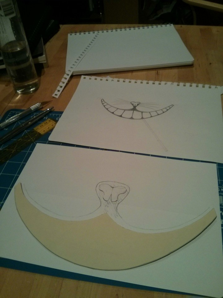 Papercraft cheshire cat smile under construction